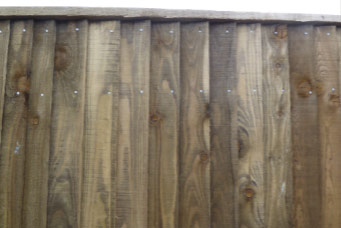 Closeboard fencing fixed using galvanised nails