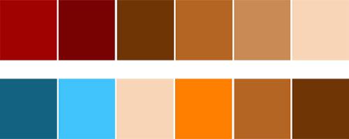 Examples of mahogany colour schemes