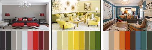 Pallet and colour schemes for different rooms