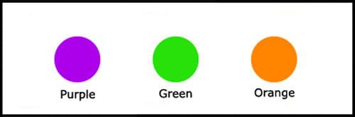 Purple, green orange secondary colours