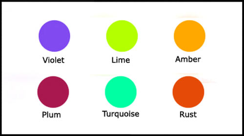 Plum, lime, violet and other tertiary colours