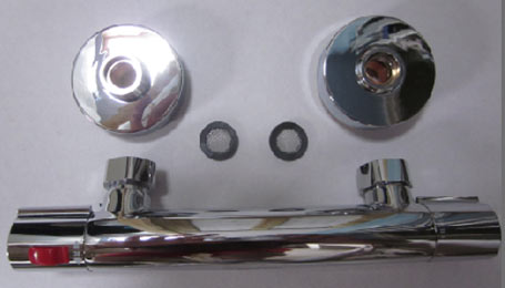 A chromed bar mixer valve with built in thermostatic control
