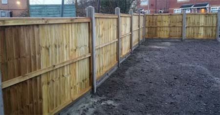 Fencing run using concrete fence posts