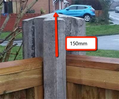 Heigh of post above fence panel