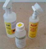 ACS Mould killer concentrate and cleaning bottles with spray head and scrubbing head