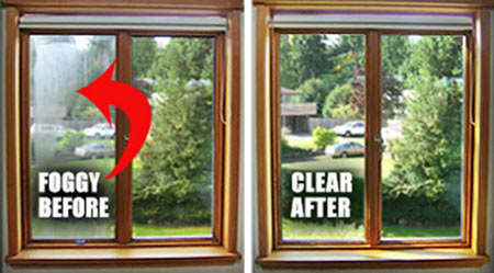 Before and after reparing a double glazed unit