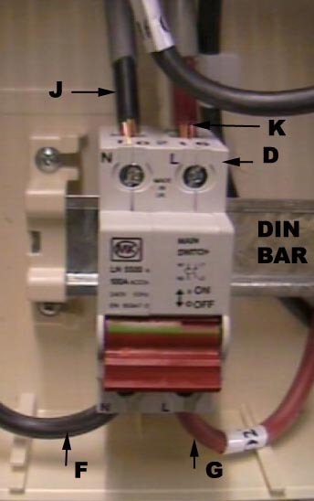 Main double pole isolation switch on din bar