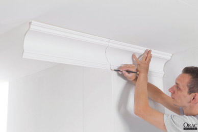 Measuring coving for a left hand external mitre