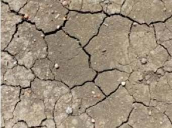 Cracked ground due to contraction in heat