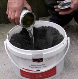 Mixing an epoxy concrete repair mortar