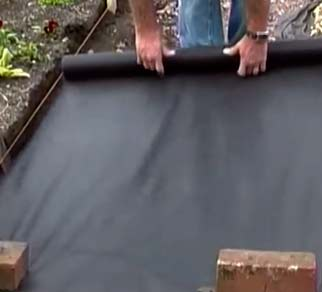 Weed fabric preventing weed growth in path
