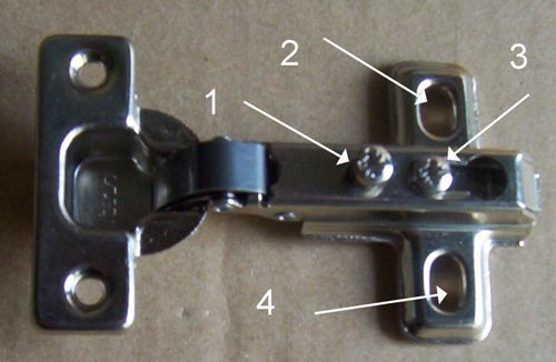 Concealed hinge indicating adjustment screws