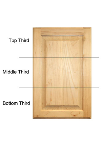 Cupboard door divided into thirds