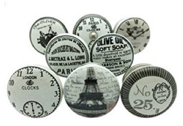 Set of vintage antique ceramic cupboard knobs