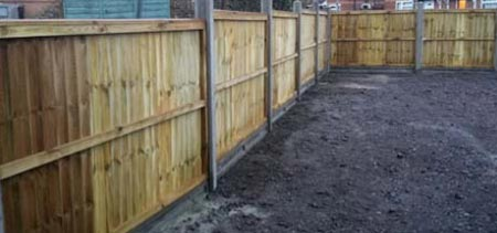 Closeboard fencing or featherbaord fencing