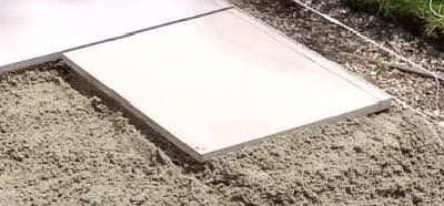 Slab cut to required size using a petrol cut-off saw