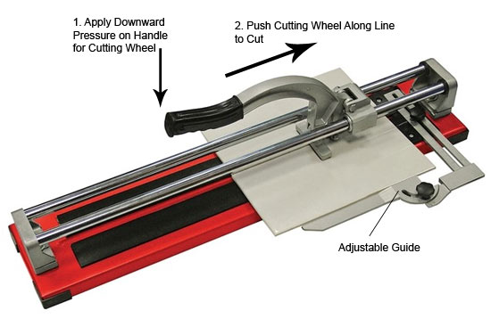 Contractors tile cutter with guide