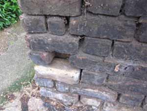 Mortar in wall damaged and missing