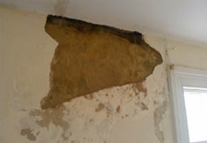 Strip any damp plaster away and allow the walls surface to dry out