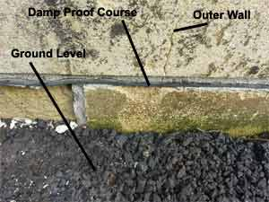 Damp Proof Course with good clearance from ground level