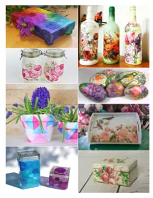 Selection of decoupage trinkets