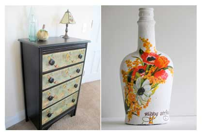 Decoupage chest of drawers and bottle