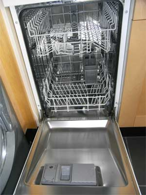 Modern slimline dishwasher open