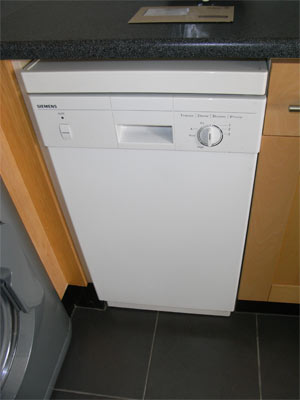 Modern slimline dishwasher in kitchen