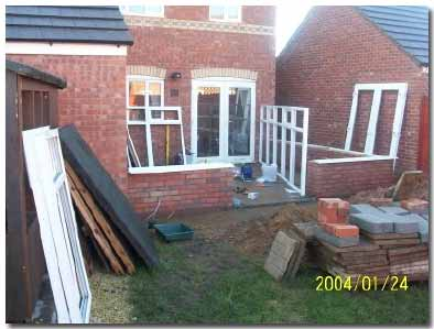 DIY conservatory base layed and dwarf wall constructed