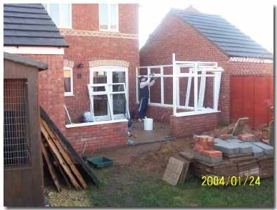 DIY conservatory upvc side modules fixed to dwarf wall