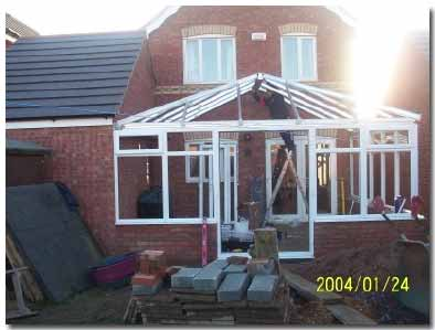 Conservatory roofing bars fixed into place ready for roofing