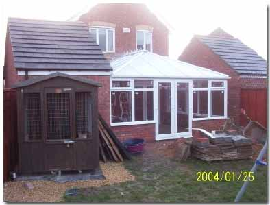 Conservatory glazing installed into modules and DIY conservatory completed
