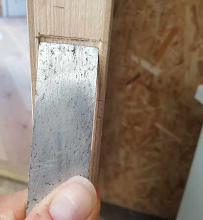 Chiselling out latch recess
