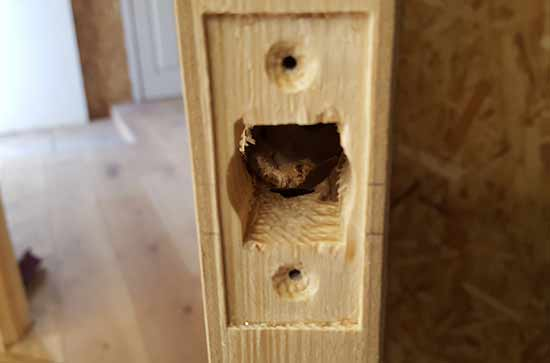 Latch recess and case hole