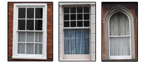 3 different types of sash window