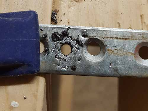 4mm pilot hole drilled out