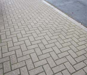 Herringbone brick paved drive
