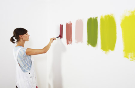 Choosing from selection of paints
