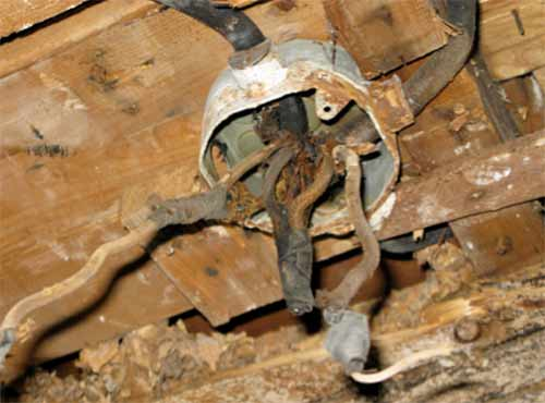 Old and deteriorated wiring and components
