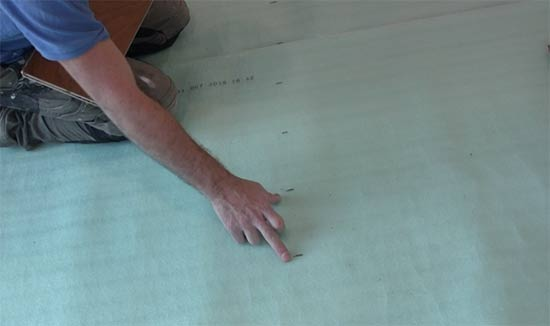 Mark out board widths on to underlay