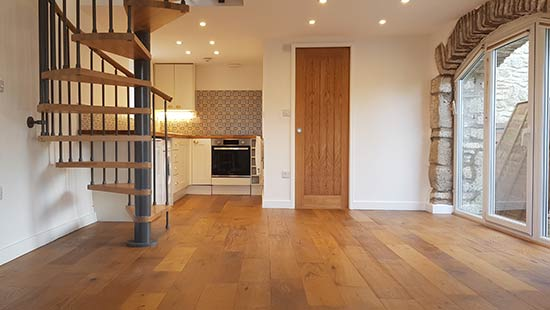 Engineered flooring laid and completed