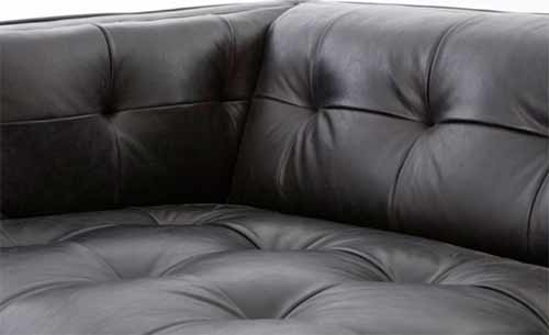 Biscuit tuft leather sofa