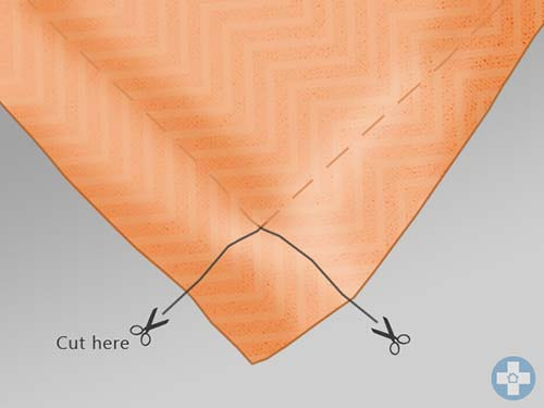 Cut away square from the corner