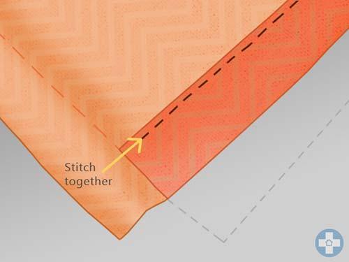 Once folded stitch bottom edge