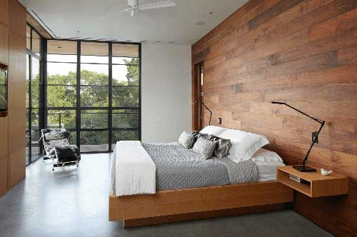 Contemporary bedroom feature wall