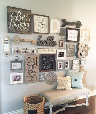 Rustic craft style feature wall