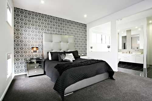 Grey patterned wallpaper feature wall