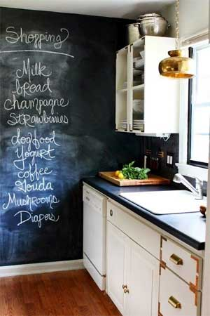 Kitchen chalk board feature wall