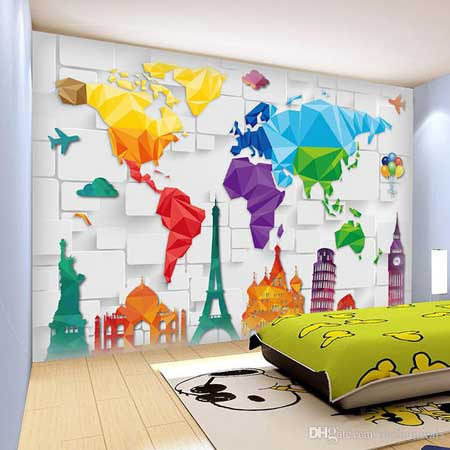 How to make a feature wall using a variety of materials including world map wall mural gumiabroncs Gallery