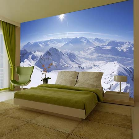 Mountain scene wall mural